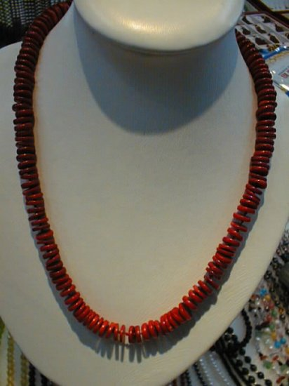 "22"""" red coral sheet necklace"