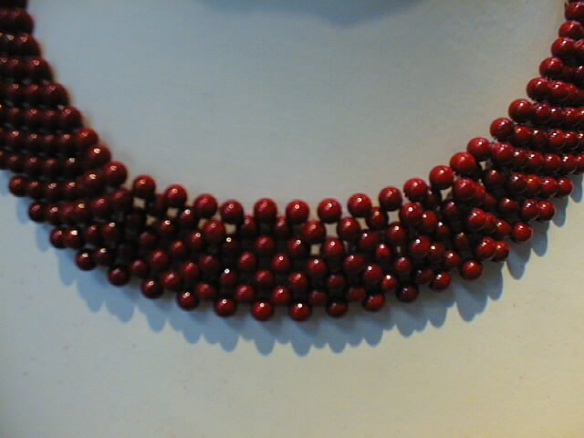 4mm coral beads necklace-fine knit