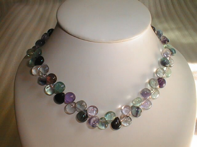 beatiful flourite water drop shape necklace