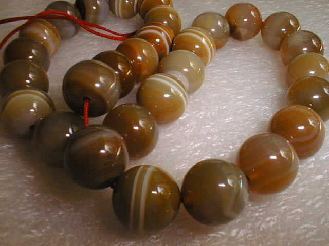 "18"""" natural agate 14mm beads/necklace"