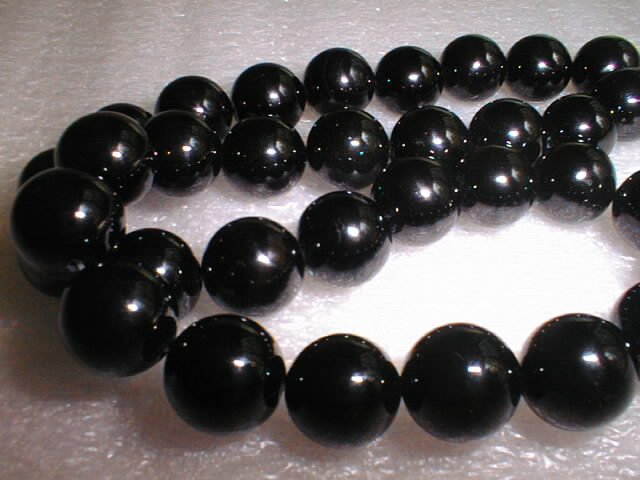 12mm AAA black agate beads necklace