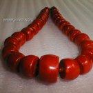 """19"""""""" huge barrel shape beads coral necklace"""
