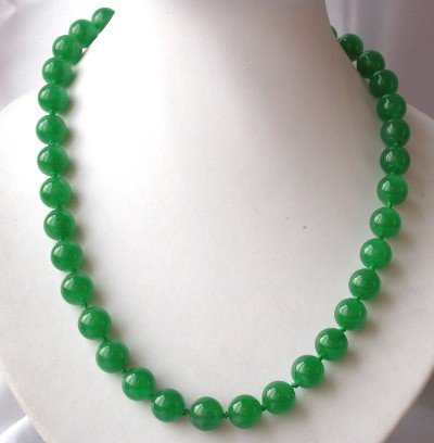 "17.5"""" 12mm natural green jade necklace"