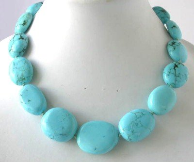 "18"""" big blue turquoise beads necklace"