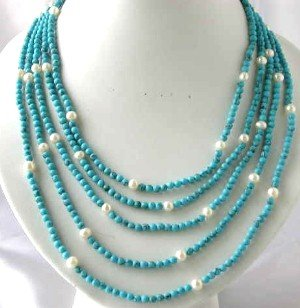 """18""""""""-24""""""""5-rows blue turquoise bead pearl & turquoise clasp"""