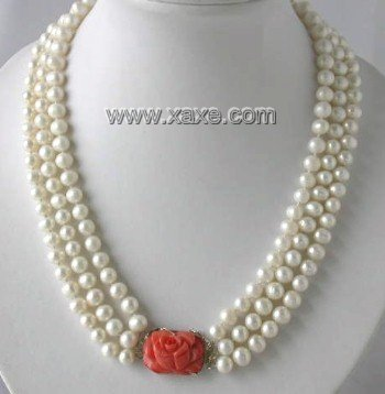 "17""""-19"""" 3-rows 7-8mm white pearl coral clasp necklace"