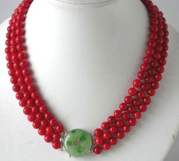 """17""""""""-19"""""""" 3-rows 8mm red coral&green jade clasp"""