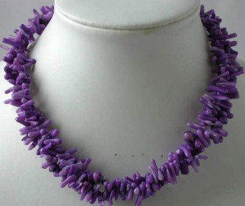 "17"""" 3-row purple branch coral necklace"