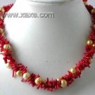 """17"""""""" 3-row red branch coral pearl necklace"""