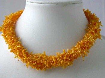 """17"""""""" 4-row orange branch coral necklace"""