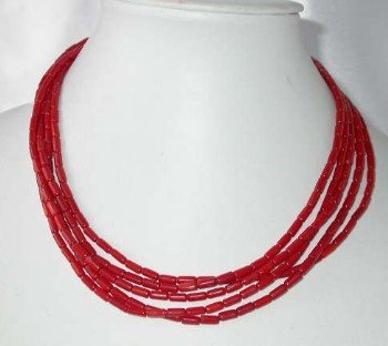 "17"""" 5-row 4*7mm red coral necklace"