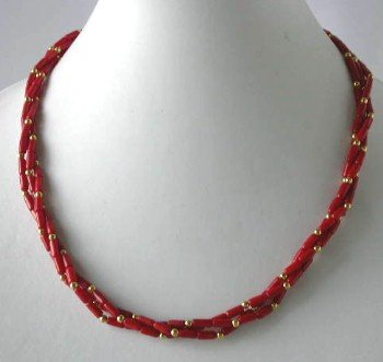 "18"""" 3-row 4*7mm red coral gild beads necklace"