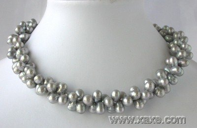"16"""" 2-rows 6*8mm gray FW pearl necklace"