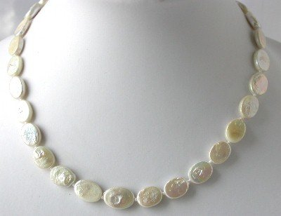 "16""""AA 10*12mm white oval biwa pearl necklace"