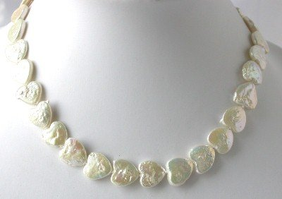 "16""""12*12mm white heart biwa pearl necklace"