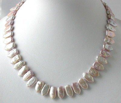 "16""""AA 9*12mm pink biwa pearl necklace"