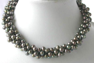 "17"""" 5*7mm 3-strands black pearl silver clasp necklace"
