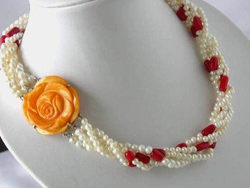 "17"""" 4-5mm 5-strands white pearl cameo coral clasp necklace"