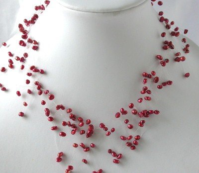"16"""" fantastic red FW pearl necklace"