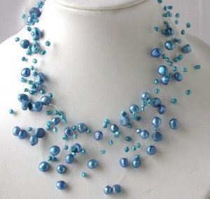"""16"""""""" fantastic blue FW pearl necklace"""