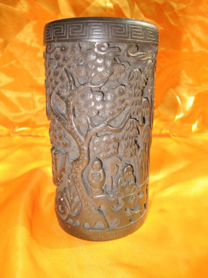 Antique Chinese Brush-pen Holder,thin and with lanscape