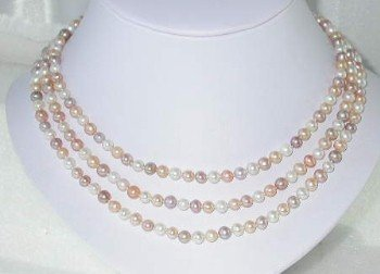 "Lustrous 48"""" 5-6mm multicolor pearl necklace"