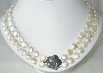 "17""""-18"""" 2-rows white coin pearl shell clasp"