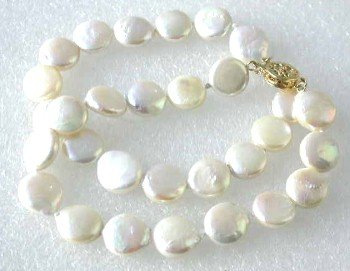 "7.5"""" 2-rows white coin pearl bracelet"