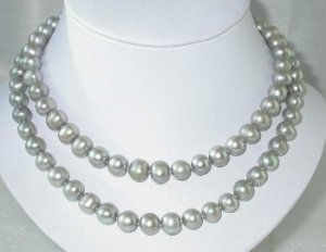 """34"""""""" 9.5-10.5mm gray FW pearl necklace"""