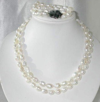 "Baroque 17""""-18"""" 9-10mm white pearl shell clasp set"