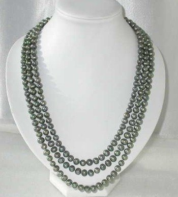 "25""""-28"""" 7-8mm green pearl shell clasp necklace"