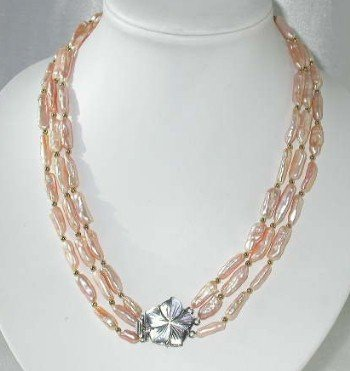 """19""""""""-21"""""""" 3-rows 7*18mm pink stick pearl shell clasp"""