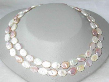 "14K 34"""" 10*12mm multicolor biwa pearl necklace"