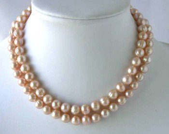 "32"""" 9-10mm pink FW pearl necklace"