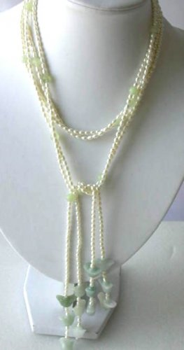 "51"""" 2-rows 3-4mm white pearl green jade necklace"