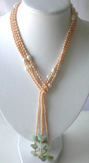 "50"""" longer 2-rows pink FW pearl green jade necklace"