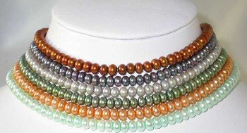 "wholesale 6pcs 16"""" multicolor pearl necklace"