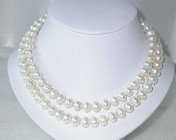 "Genuine 34"""" 10-11mm white FW pearl necklace"