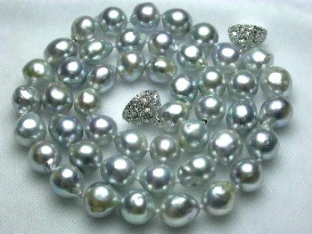 "17"""" lustrous 7.5-8mm gray sea pearl necklace"