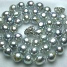 """17"""""""" lustrous 7.5-8mm gray sea pearl necklace"""