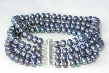 "Grade AA 7.5"""" 4-rows 6-7mm peacock pearl &silver clasp bracelet"