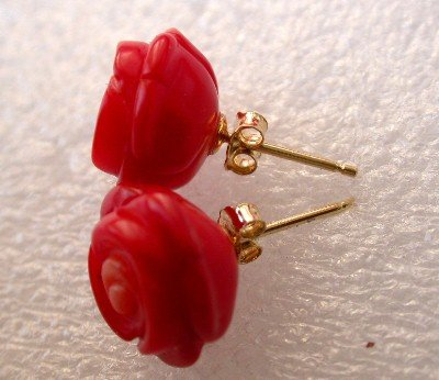 14K Natural 12mm red rose coral earring