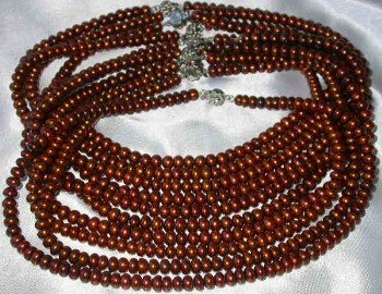 "Wholesale 5 pcs 16"""" 6-7mm coffee pearl necklace"