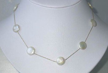 """New 14K gold 16"""""""" 12mm white round coin pearl necklace"""