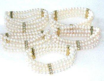 Wholesale 5 pieces beauty 6-7mm 3-rows white pearl bracelet