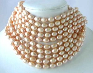 """Wholesale 10 ps 16"""""""" 9-10mm pink pearl necklace"""