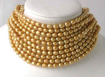 Wholesale 10 pcs 6-7mm yellow pearl necklace