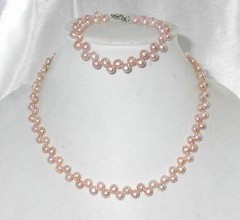 Wholesale 5 sets 5-6mm pink button pearl necklace