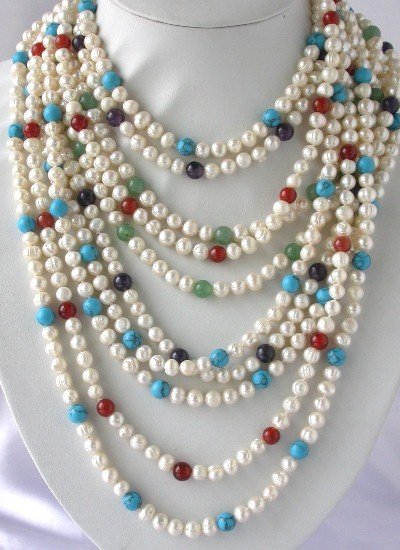 """Wholesale 5 pcs 38"""""""" white pearl jewel beads necklace"""