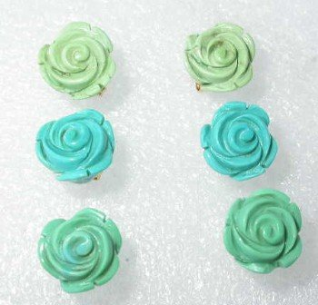 Wholesale 3 pairs 12mm natural carved rose turquoise earrings
